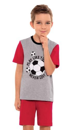 cd1136415c69ce Piżama chłopięca,kr. rękaw,krótkie spodnie z wzorem piłki nożnej www ...