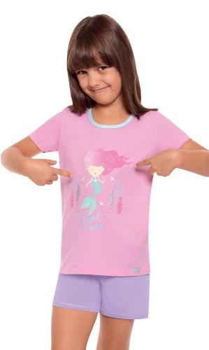 34d503bf4cfe4b Piżamka dziewczynka roz.98-128,krótki. rękaw i spodnie ,wzór syrenka ...